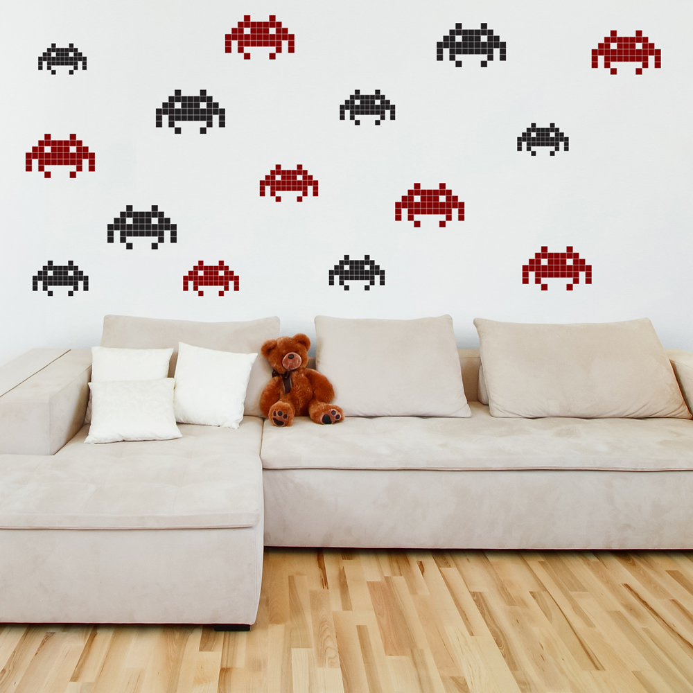 Large Space Invader Gaming & Entertainment Creative Multipack Wall Stickers