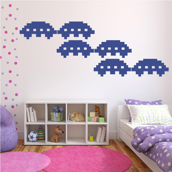 UFO Space Invaders Gaming & Entertainment Creative Multipack Wall Sticker Decal