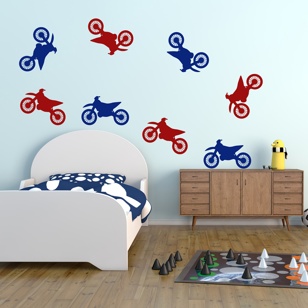 Motocross MotoX Motorbike Creative Multipack Wall Stickers Transport Art Decals