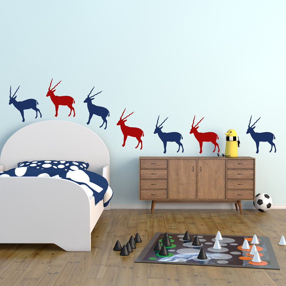 Antelope Silhouette Wild Animals Creative Multipack Wall Stickers Home Art Decal