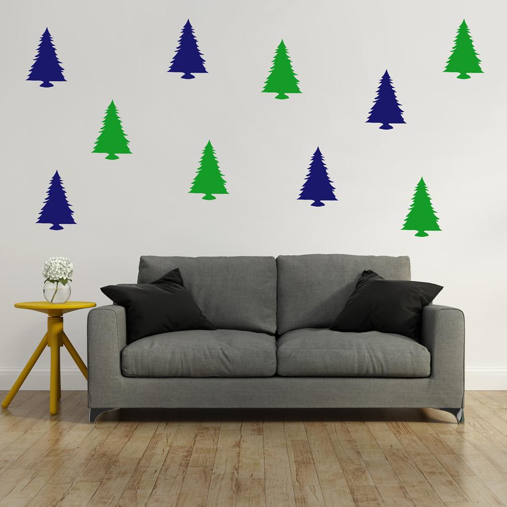 Christmas Tree Wall Sticker Pack Festive Xmas Wall Decal ...