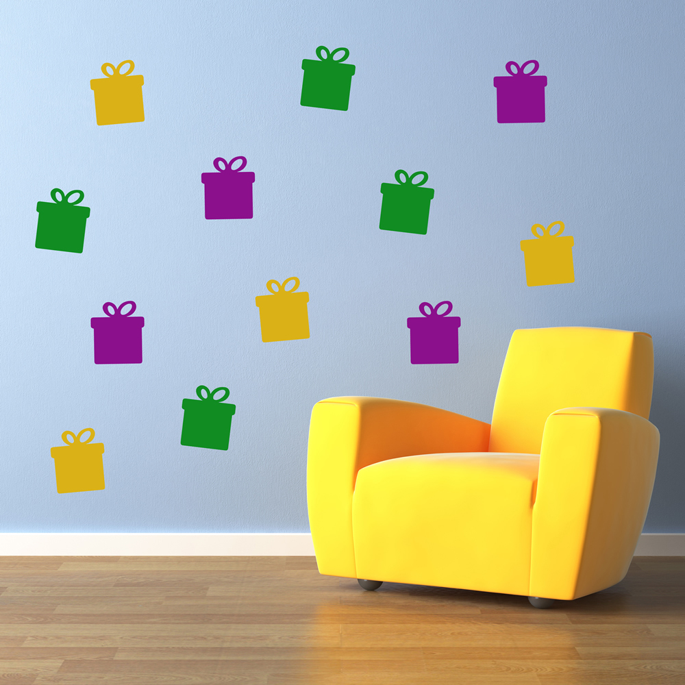 Present Silhouette Wall Sticker Creative Multi Pack Wall Decal Art