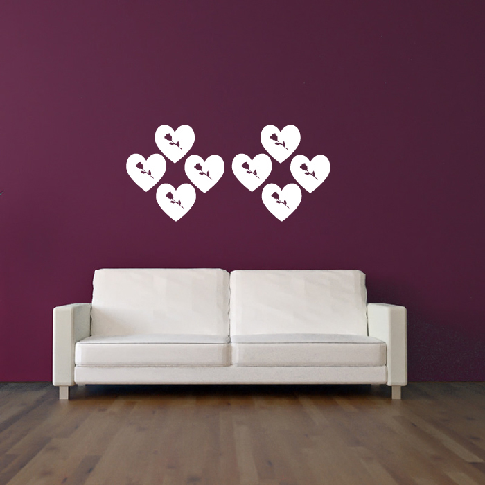 Rose And Heart Wall Sticker Creative Multi Pack Wall Decal Art