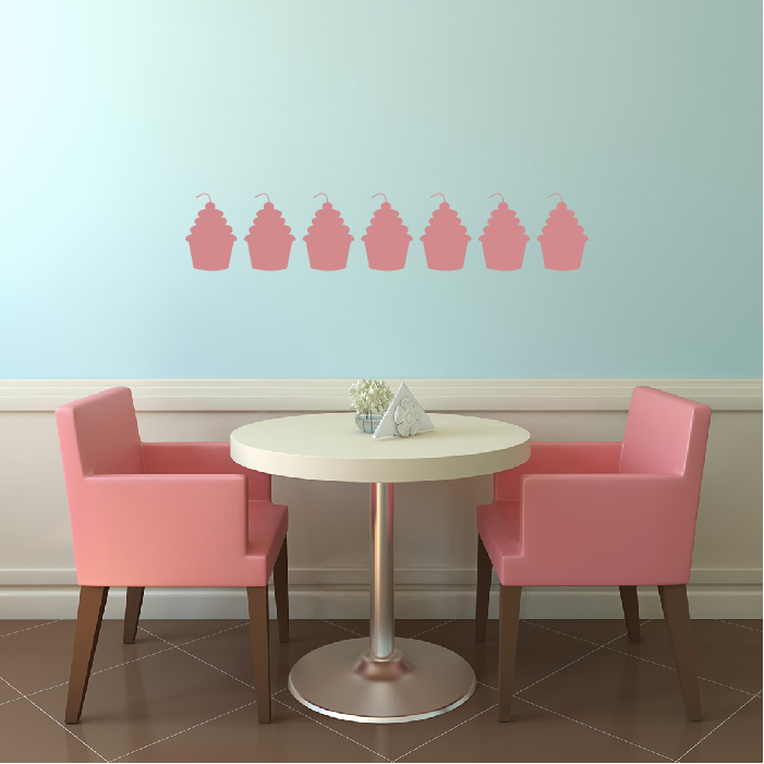 Cherry Cupcake Wall Stickers Creative Multi Pack Wall Decal Art
