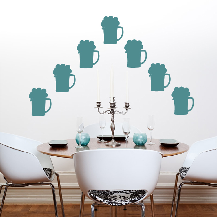 Frothy Beer Glass Wall Sticker Creative Multi Pack Wall Decal Art