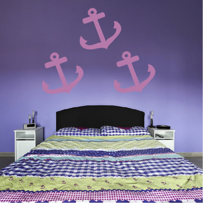Curved Anchor Silhouette Wall Sticker Creative Multi Pack Wall Decal Art