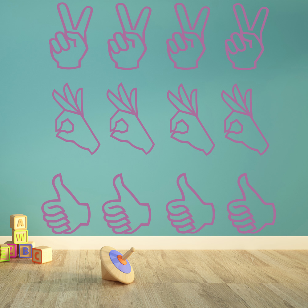 Hand Sign Silhouette Wall Stickers Creative Multi Pack Wall Decal Art