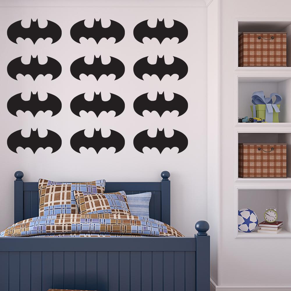 Batman Logo Wall Sticker Pack Superhero Wall Decal Boys Bedroom Home Decor