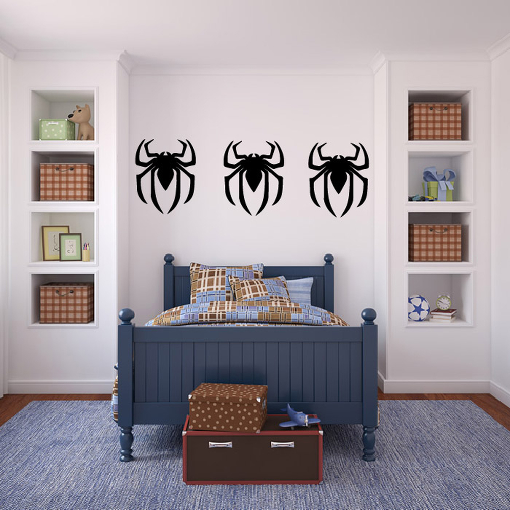 Spider Man Logo Silhouette Wall Sticker Creative Multi Pack Wall Decal Art