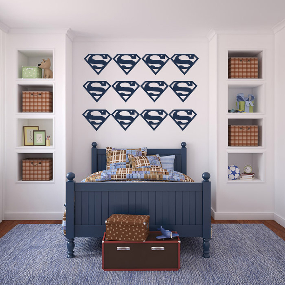 Superman Logo Group Superheroes Creative Multipack Wall Stickers Kids Art Decals