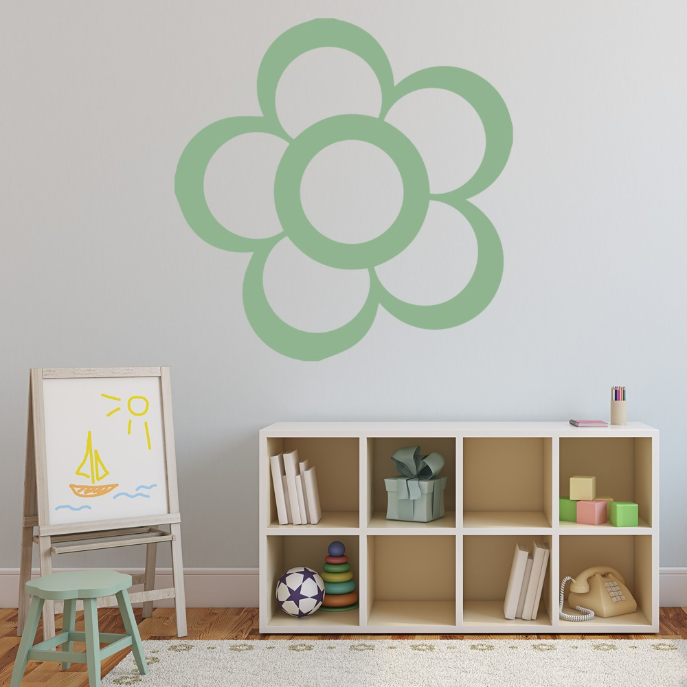 Cartoon Flower Outline Flowers And Trees Wall Stickers Home Decor Art Decals