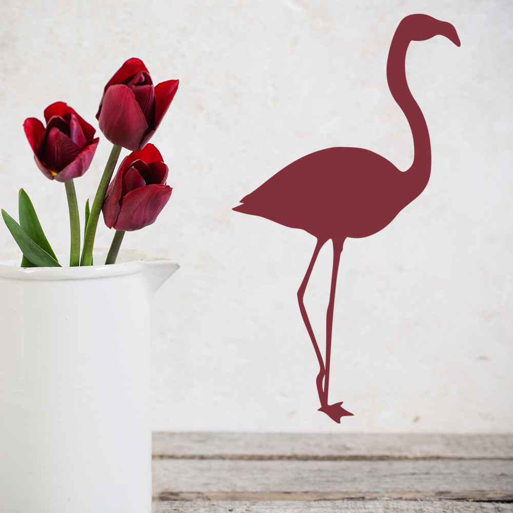 Flamingo Standing Silhouette Birds & Feathers Wall Stickers Home Decor Art Decal