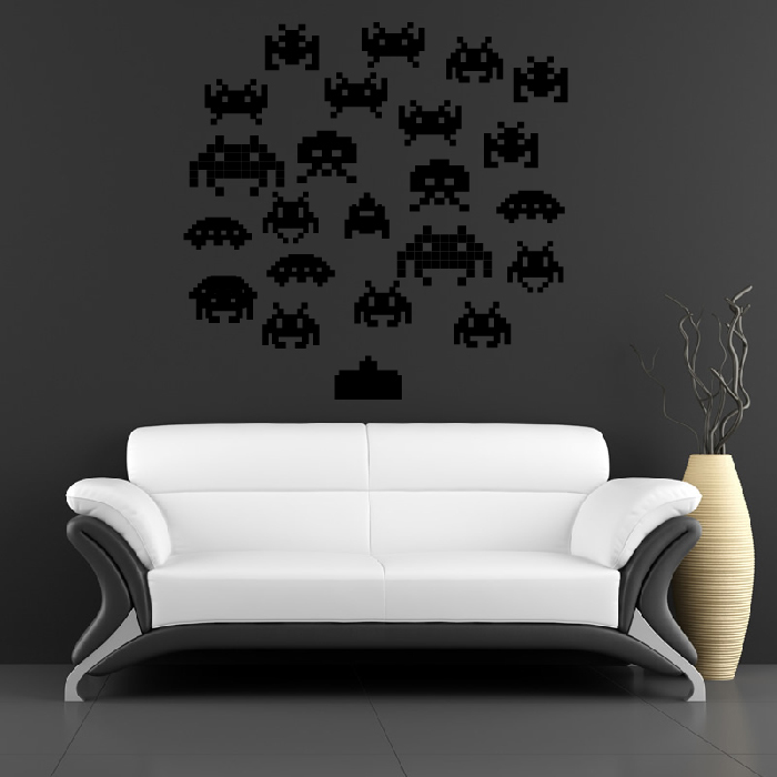 Space Invaders Group Wall Stickers Decorative Wall Decal Art