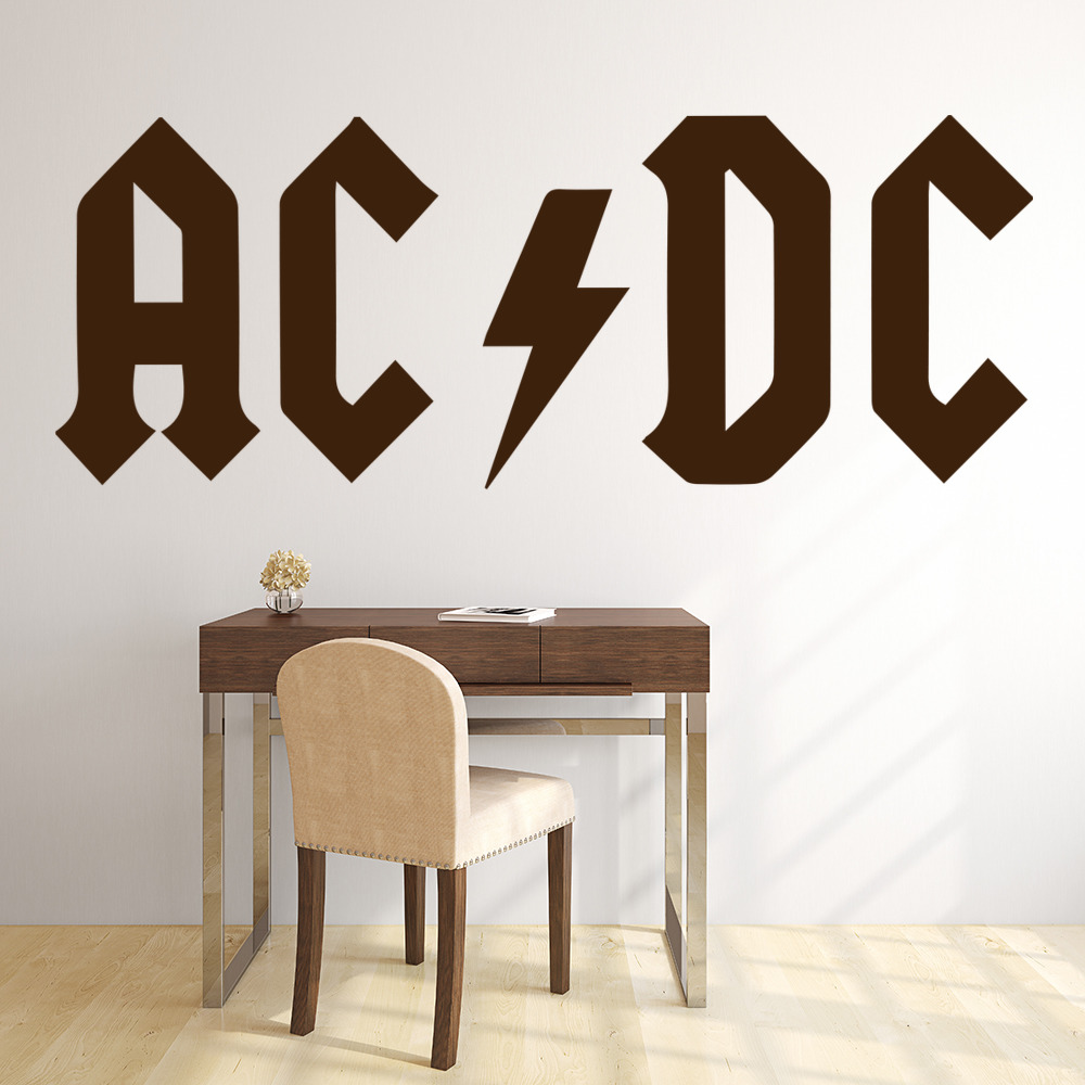 AC/DC Band Name Logo Musicians & Band Logos Wall Stickers Music Decor Art Decals
