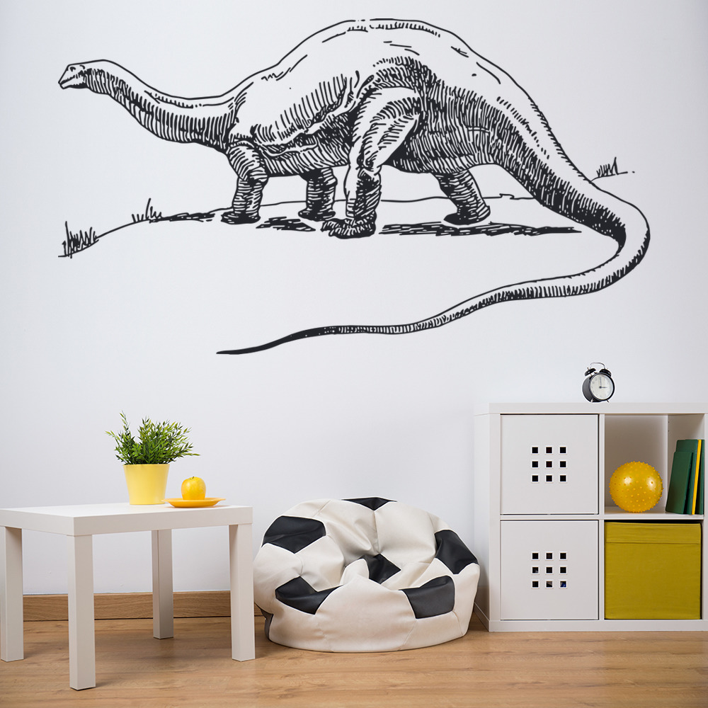 Alamosaurus Sketch Prehistoric Dinosaur Wall Stickers Kids Bedroom Art Decals