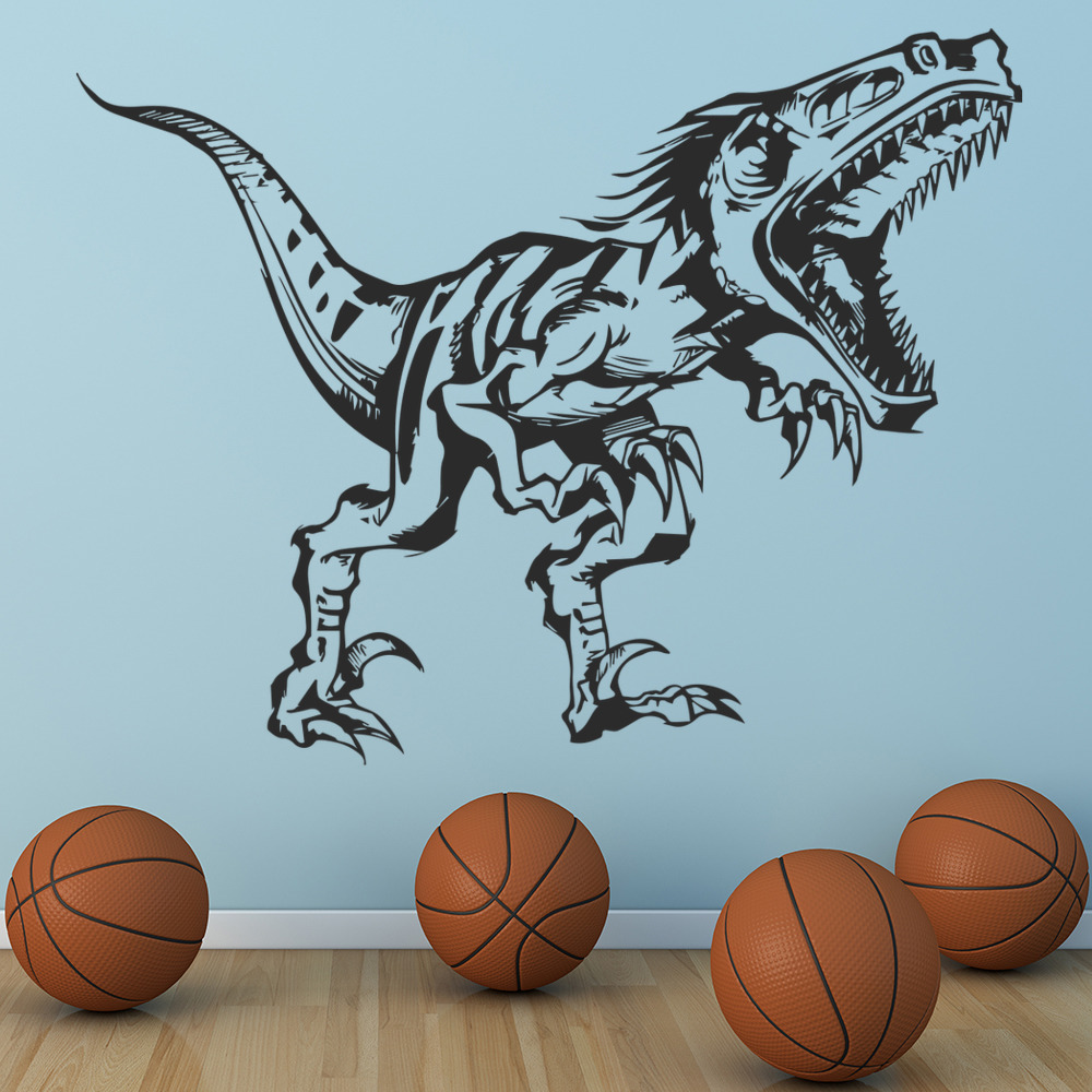 Velociraptor Roaring Prehistoric Dinosaur Wall Sticker Kids Bedroom Art Decal