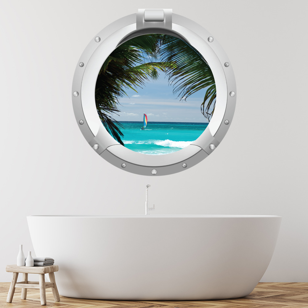 Island Palm Tree Porthole Digital Scene Digital Wall Stickers Home Art Decals