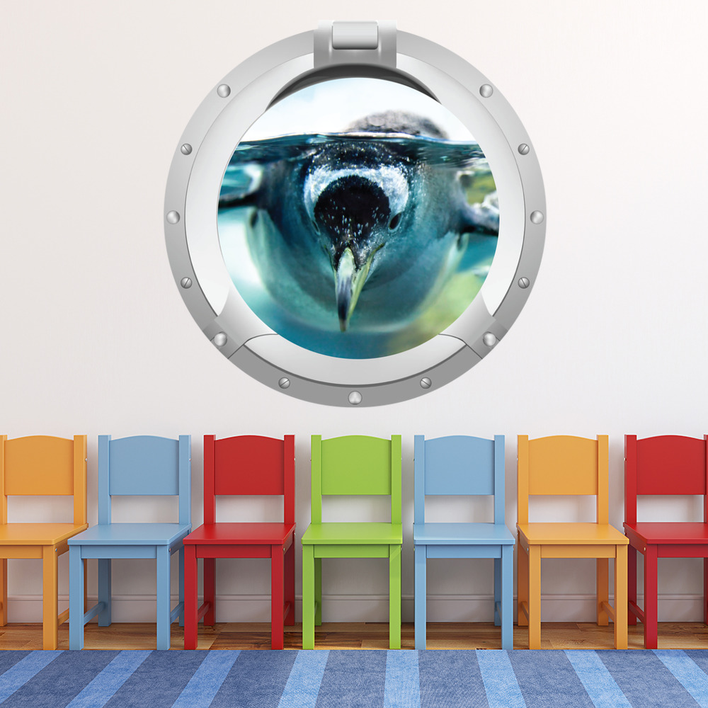 Penguin Swimming Porthole Digital Scene Digital Wall Stickers Home Art Decals