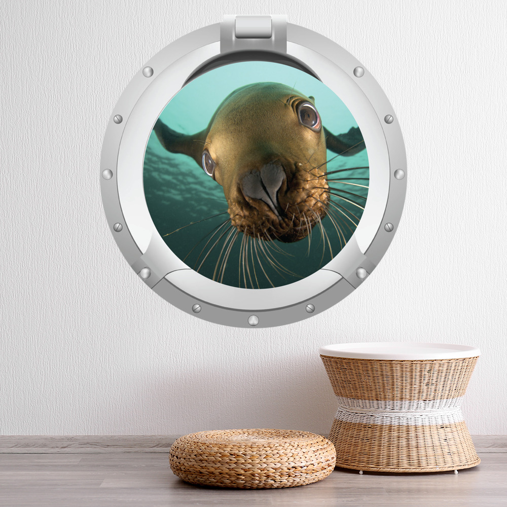 Seal Sealife Porthole Digital Scene Digital Wall Stickers Home Decor Art Decals