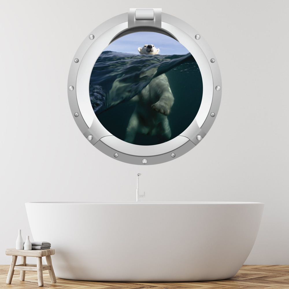 Polar Bear Arctic Porthole Digital Scene Digital Wall Stickers Home Art Decals