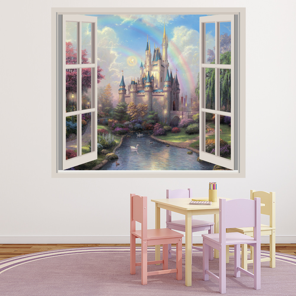 Enchanted princess castle wall sticker window wall decal for Wall scenes