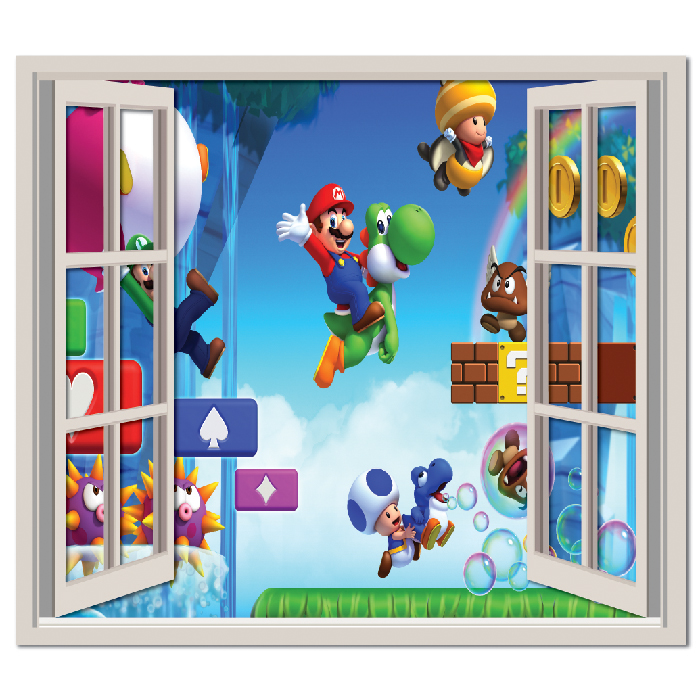 super mario brothers wall sticker window wall decal