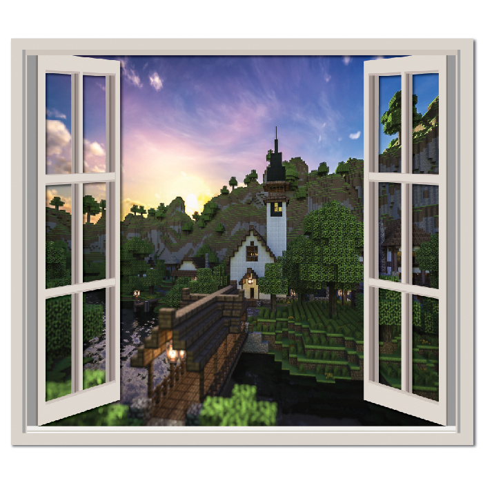 Minecraft Landscape Gaming Digital Scene Digital Wall Stickers Home Art Decals