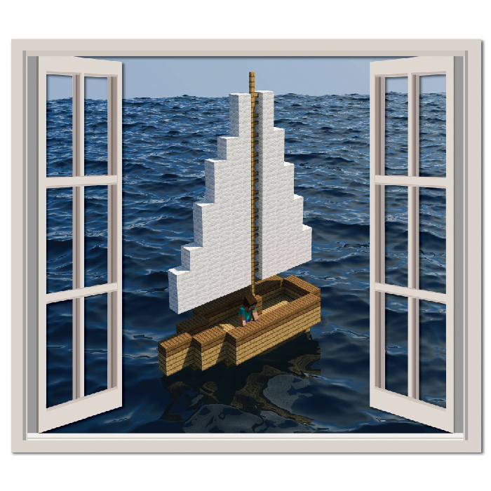 Minecraft Ocean Gaming Digital Scene Digital Wall Stickers Home Decor Art Decals
