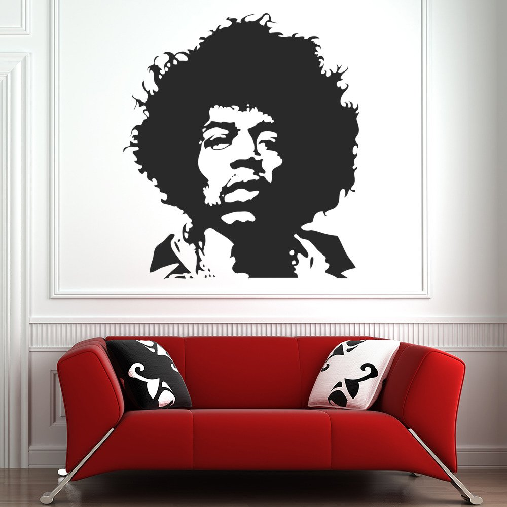 Jimmy Hendrix Head Profile Icons & Celebrities Wall Sticker Home Decor Art Decal