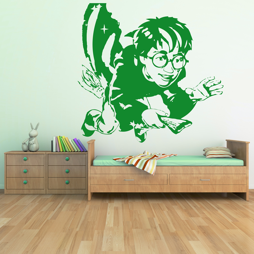 Wall Art Stickers Harry Potter : Harry potter on broomstick wall sticker icon art