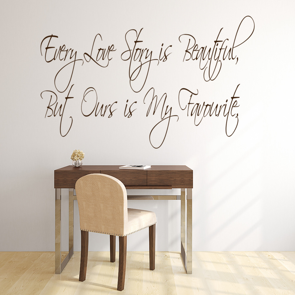 Every Love Story Is Beautiful Romantic Love Quotes Wall Stickers Home Art Decals
