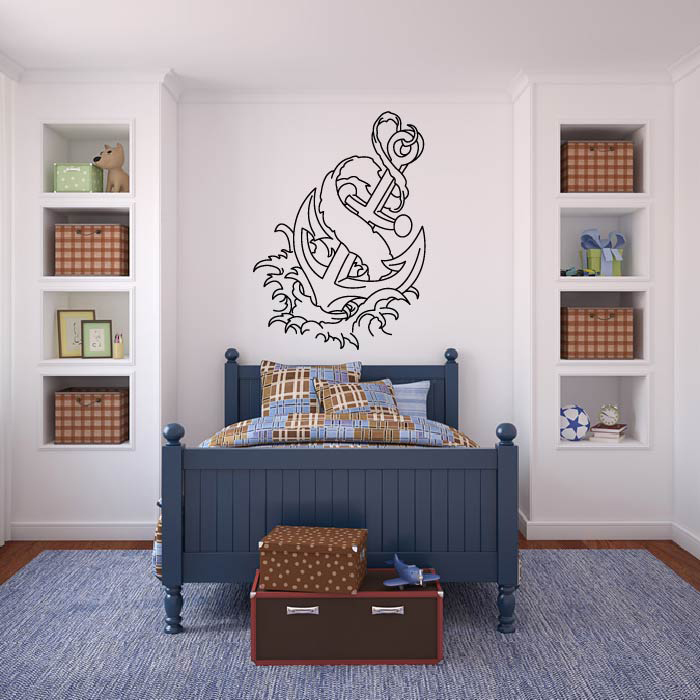 Anchor And Waves Wall Sticker Decorative Wall Art