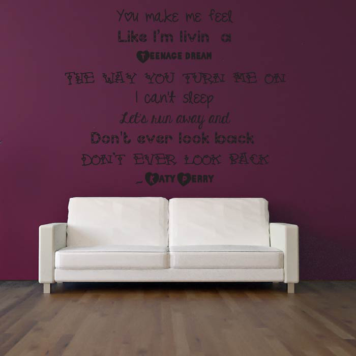 teenage dream wall sticker katy perry wall art never say never justin bieber quote girls teenager