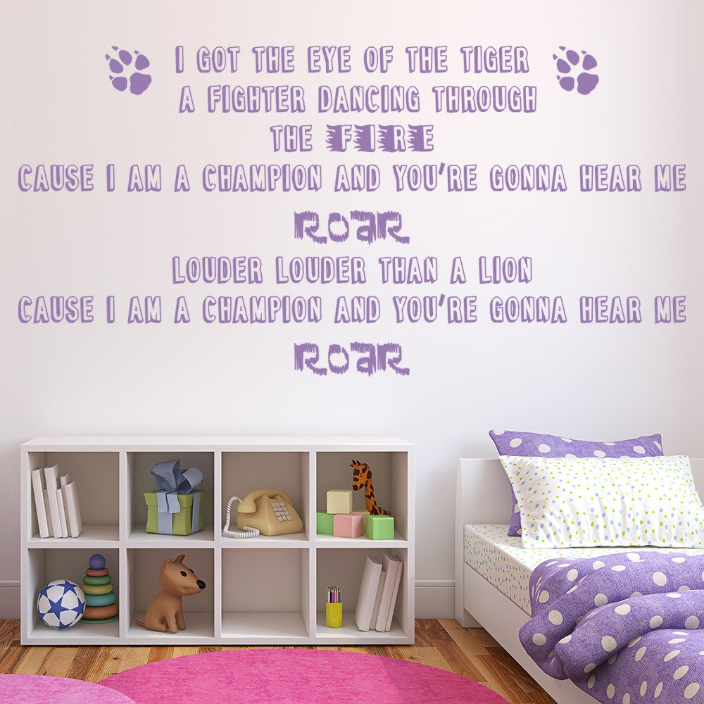 Katy Perry Roar Female Pop Song Lyrics Wall Stickers Music Decor Art Decals