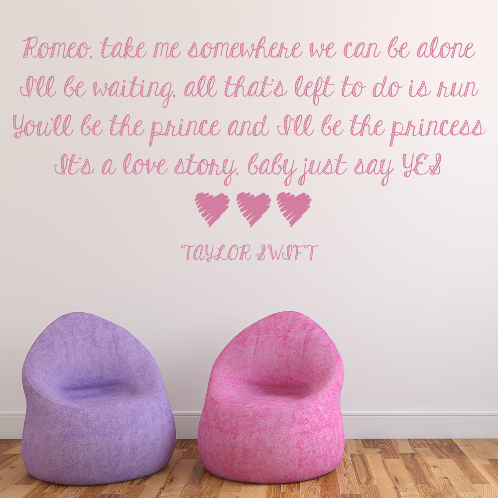 Taylor Swift Love Story Pop Song Lyrics Wall Stickers Music Decor Art Decals