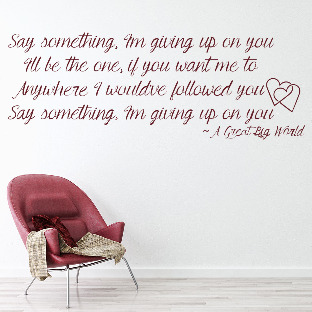 A Great Big World Say Something Song Lyrics Wall Stickers Music Decor Art Decals