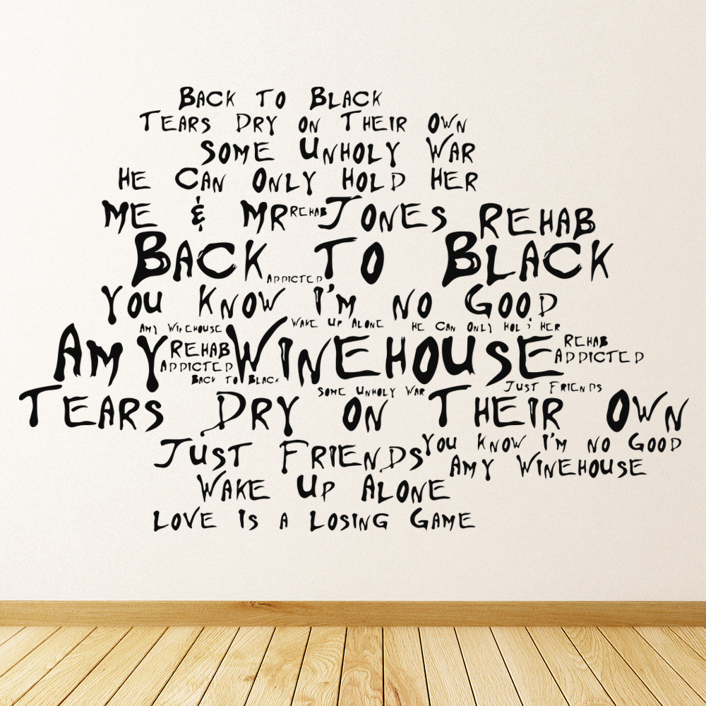 Amy Winehouse Back To Black Song Lyrics Wall Stickers Music Decor Art Decals