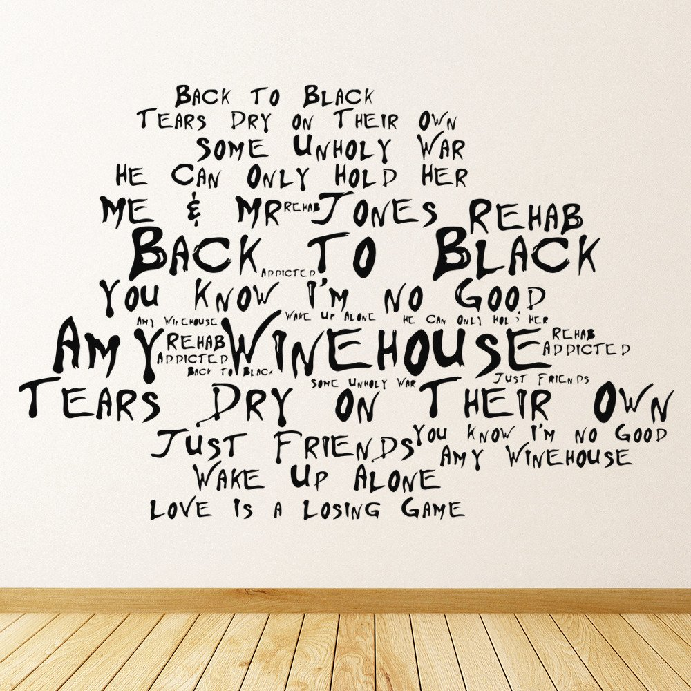 Wall Art Stickers Song Lyrics : Back to black wall art amy winehouse