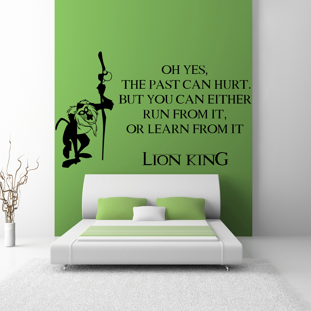 Scarface money power respect vinyl wall decal for home decore - The Past Can Hurt Rafiki Lion King Kids Tv Movie Wall Stickers Home Art Decals