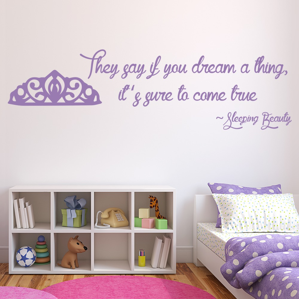 Sleeping Beauty Quote Princess And Fairy Wall Stickers Bedroom Decor Art Decals