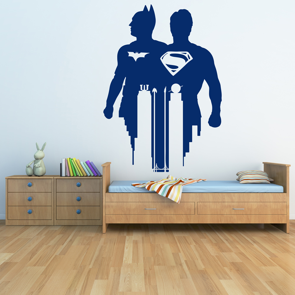 Superman v batman wall superman v batman wall art for Batman wall mural uk