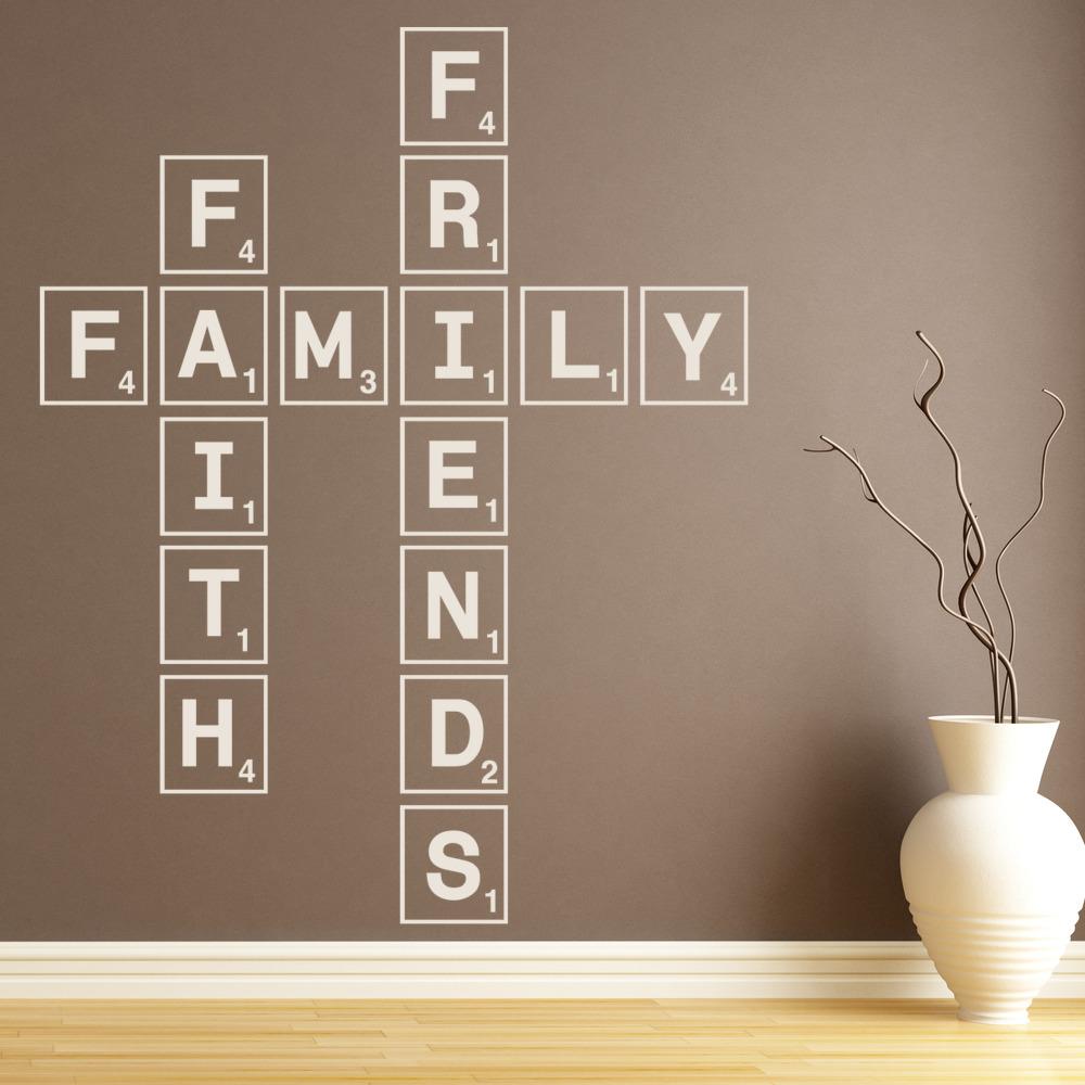 Family Faith Friends Wall Sticker Scrabble Tiles Wall Art