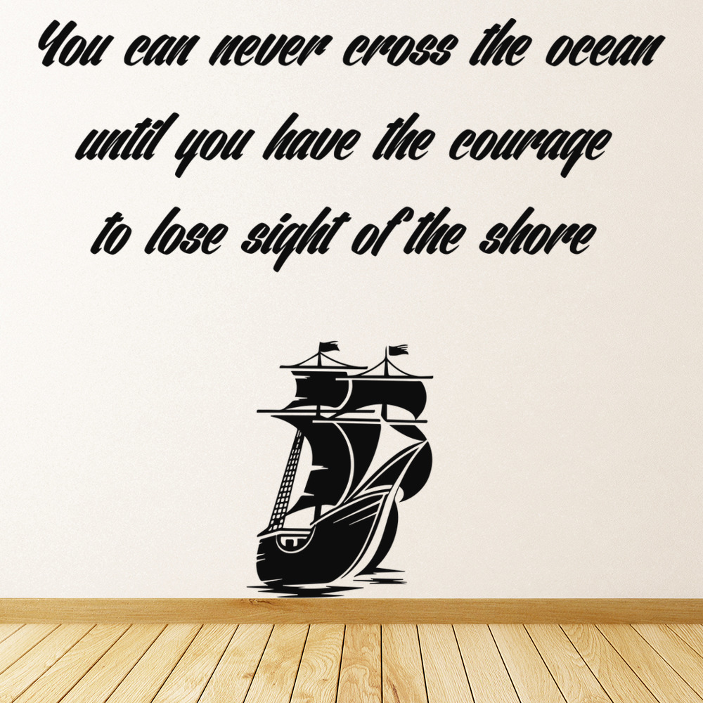 You Can Never Cross The Ocean… Life And Inspirational Quote Wall Stickers Decals