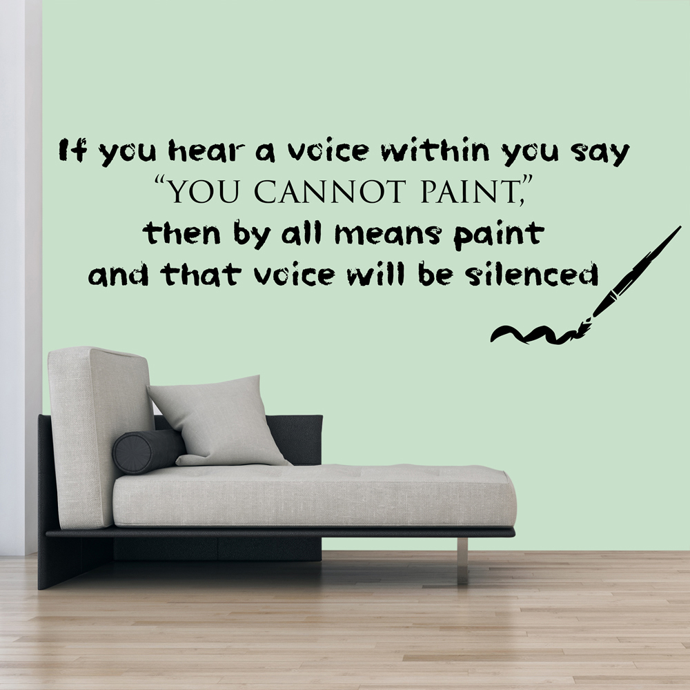 Paint And Paint Brush Life And Inspirational Quote Wall Stickers Home Art Decals