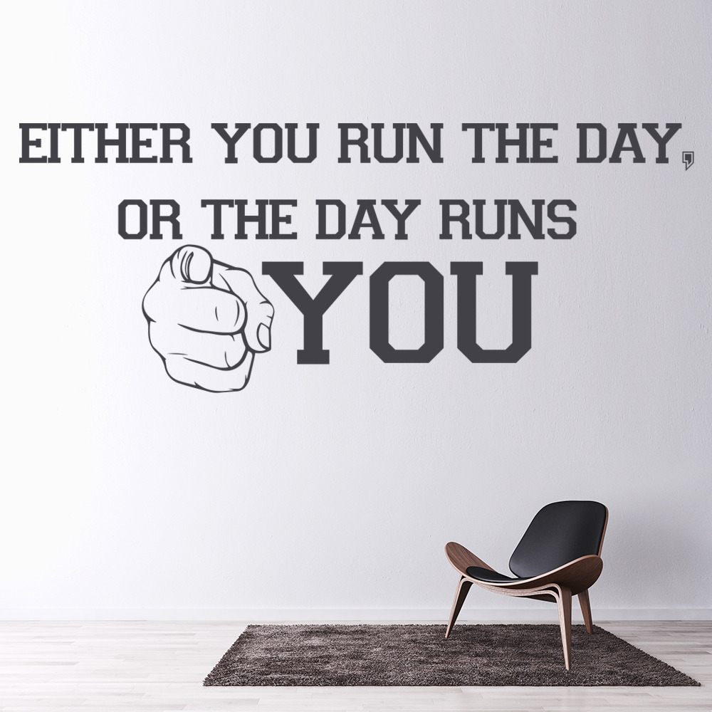 Run The Day Life And Inspirational Quote Wall Stickers Home Decor Art Decals