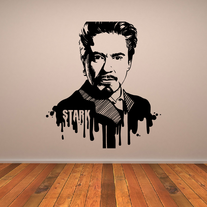 Tony Stark Iron Man Marvel Superheroes Wall Stickers Childrens Decor Art Decals