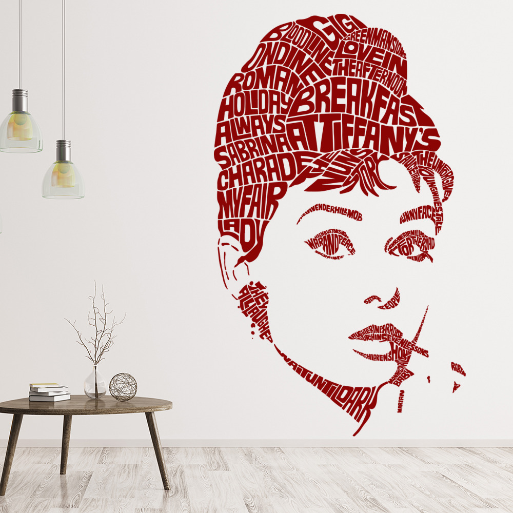 Audrey Hepburn Actress Profile Icons & Celebrities Wall Stickers Home Art Decals