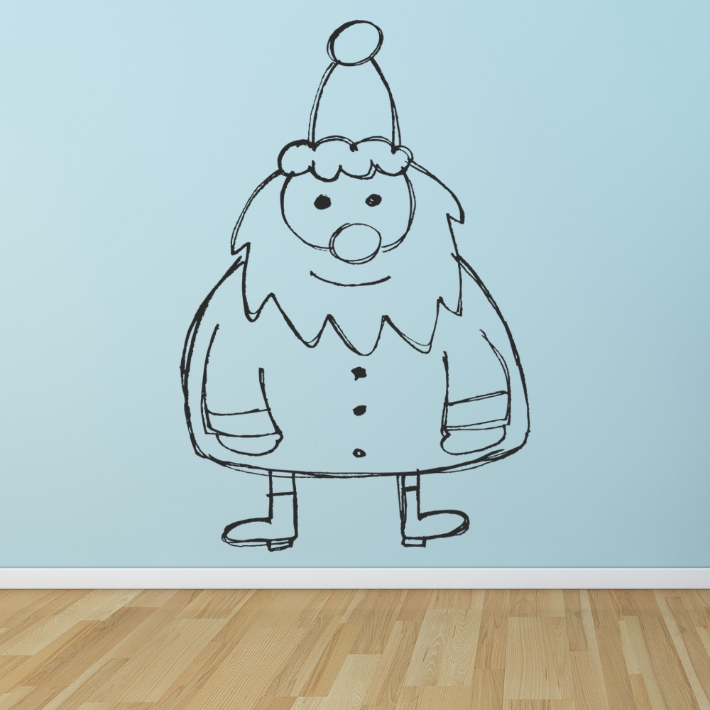 Santa Claus Kids Cartoon Winter Christmas Wall Stickers Seasonal Decor Art Decal