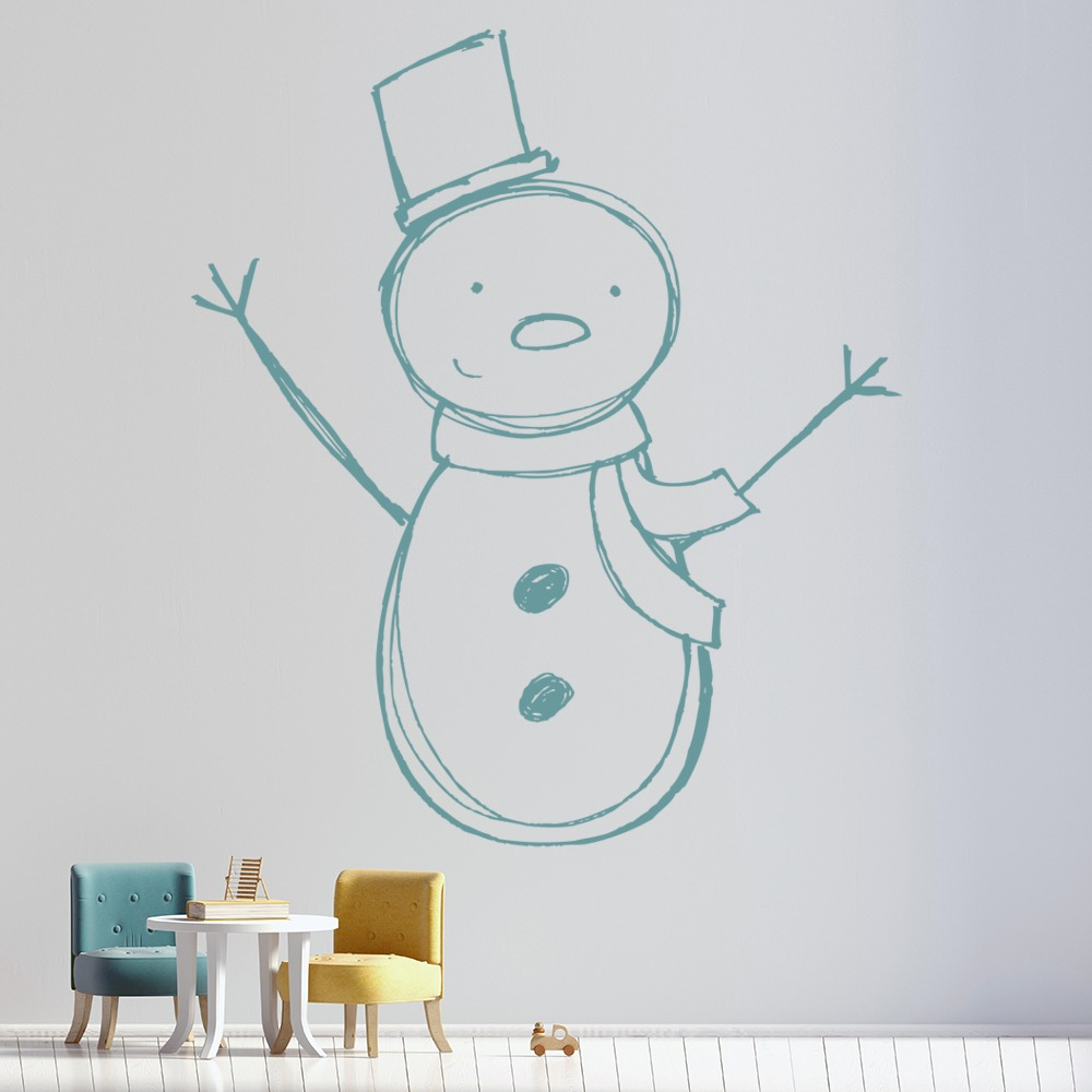 Snowman With Hat Christmas Wall Art Wall Decal