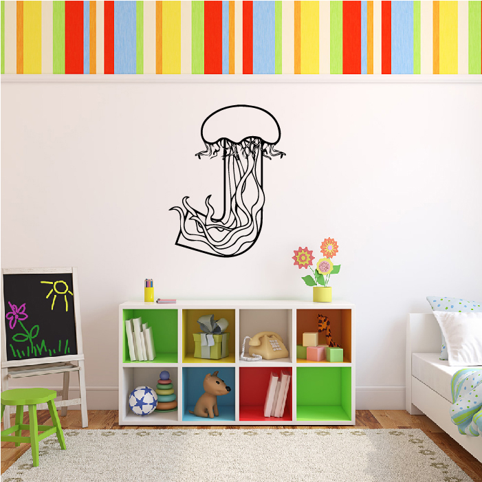 J Jellyfish Animal Alphabet Educational Wall Stickers School Classroom Art Decal